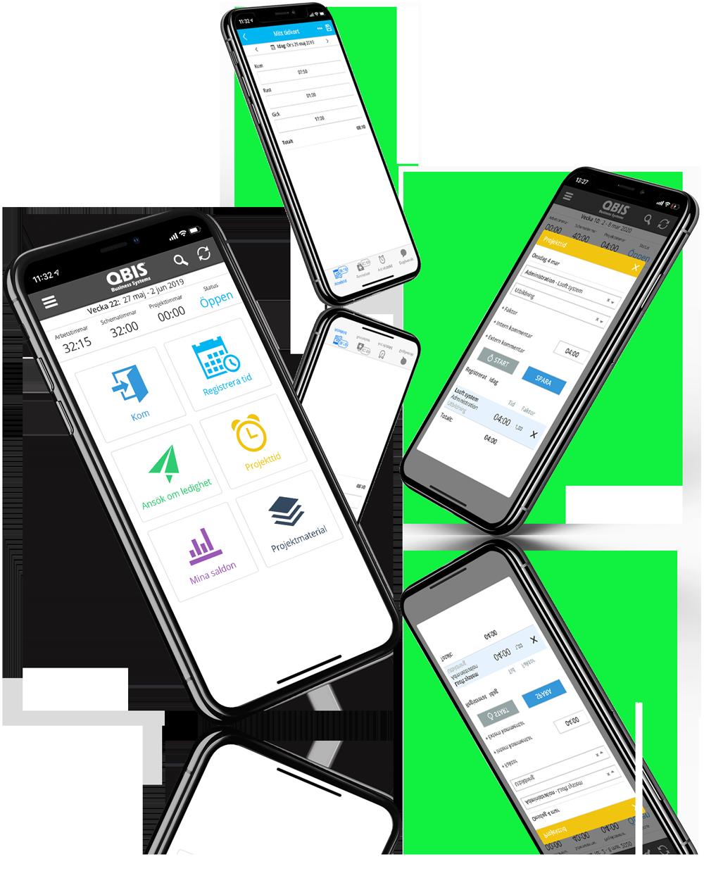 Tidrapportering app mobila gränssnitt | QBIS