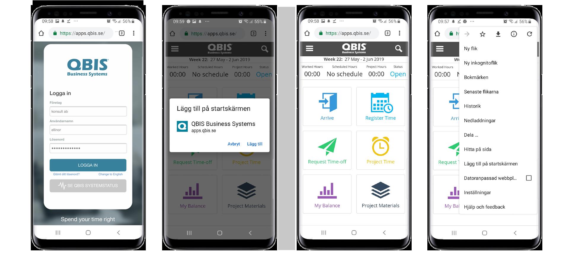 Tidrapportering app - lägg till på din startskärm på Android | QBIS