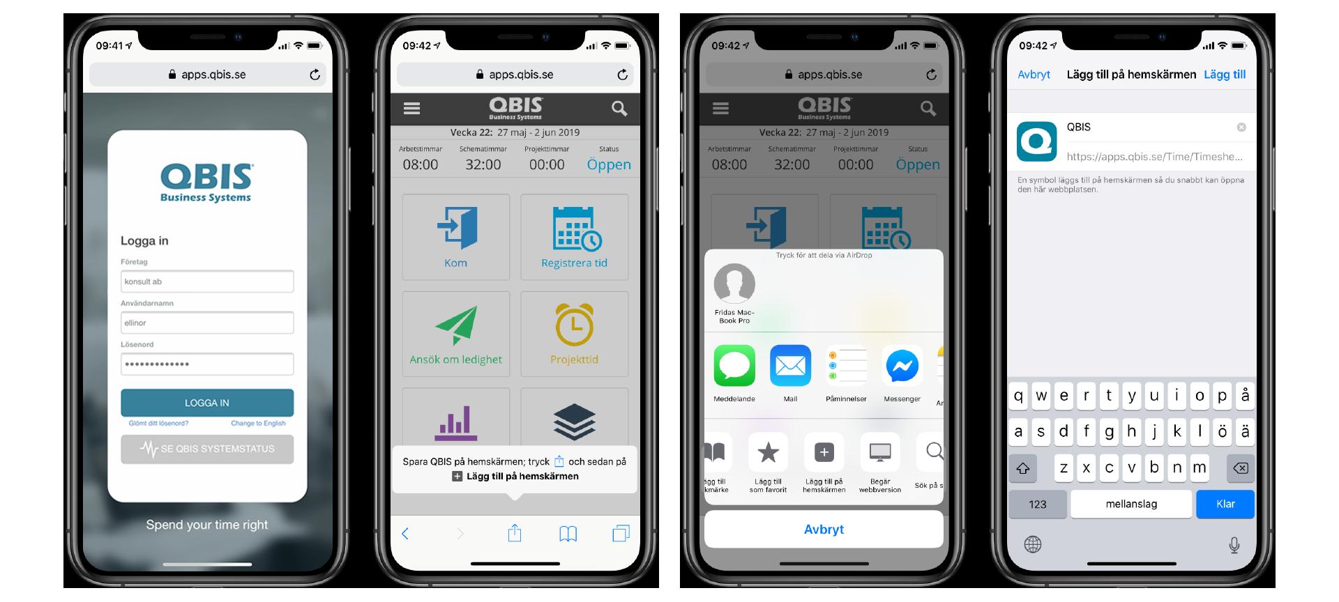 Tidrapportering app - lägg till på din startskärm på iPhone | QBIS