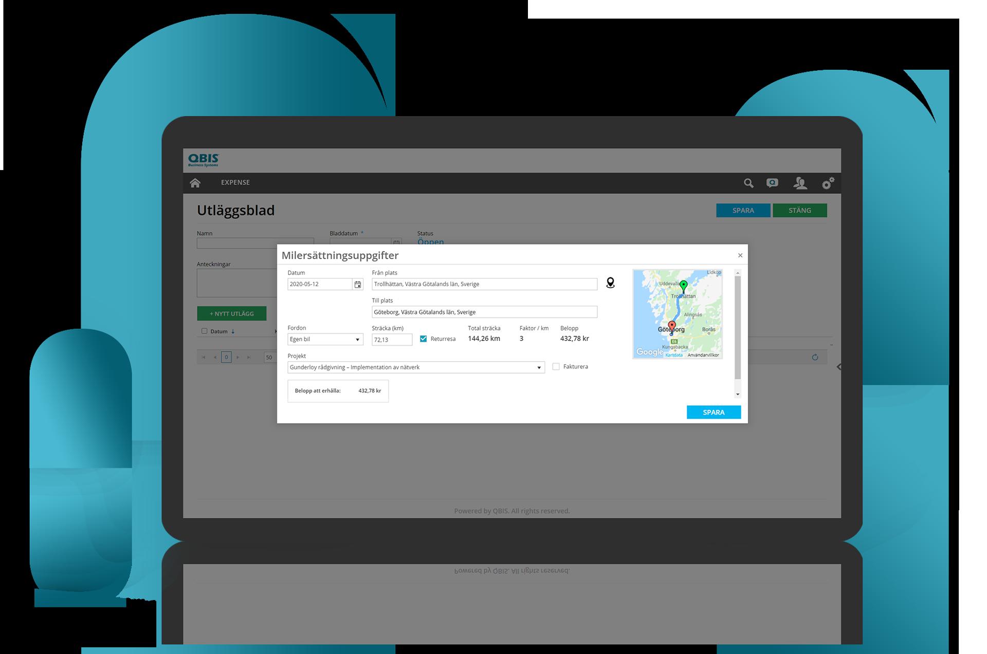 Få information om kilometerersättning med automatisk beräkning | QBIS